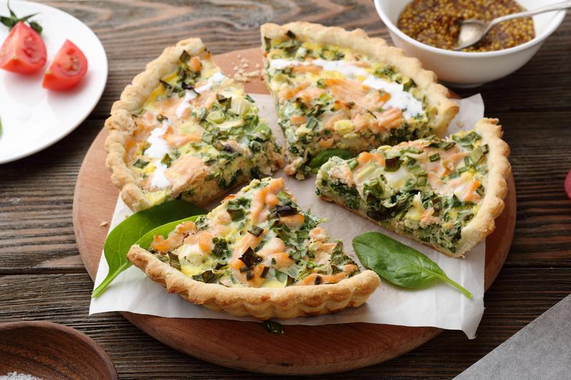 Quiche met zalm en spinazie   Recepten koken