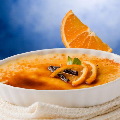 Creme brulee met sinaasappel